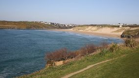 Crantock North Cornwall England UK near Newquay waves beach and bay. Crantock bay and beach North Cornwall England UK near Newquay and on the South West Coast stock video footage