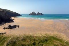 Crantockbaai en strand Noord-Cornwall Engeland het UK dichtbij Newquay Stock Fotografie