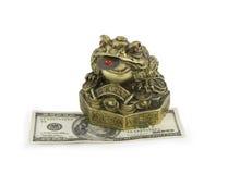 Crapaud d'argent se reposant sur le dollar Photos stock