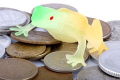 Crapaud et pièces de monnaie Images libres de droits