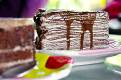 Crape cake with chocolate sauce Stock Images