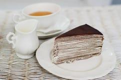 Crape cake with english tea Royalty Free Stock Image