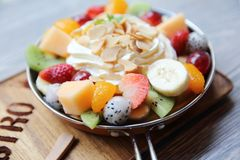 Crepe cake with fruit. On a pan stock image