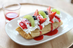 Crape cake with fruit Royalty Free Stock Photo