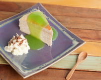Crape cake with green apple sauce Royalty Free Stock Photo