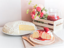Crape cake pour with strawberry sauce Royalty Free Stock Photography