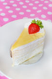 Crape cake with strawberry topping Royalty Free Stock Photo
