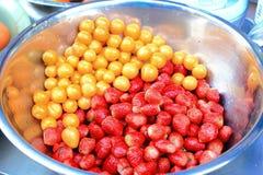Crape gooseberry and strawberry Royalty Free Stock Photo