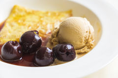 Crape and ice cream with blueberry Stock Images