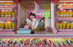 Crape and ice cream vendor at Harajuku's Takeshita street Stock Photos