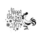 Craphic Typography New Year Greeting Card With Rooster. Royalty Free Stock Photos