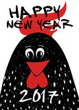 Craphic Typography New Year Greeting Card With Rooster. Stock Photos