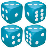Craps with 3. Set of blue casino craps, dices with three points, dots number on top,  illustration Royalty Free Stock Photo