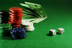 Craps on the green table Stock Photography