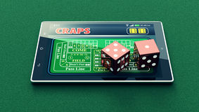 Craps online. Tablet pc with a craps app and a couple of dice on green background (3d render Royalty Free Stock Image
