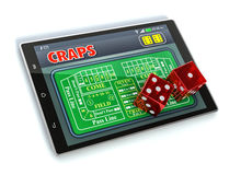 Craps online. Tablet pc with a craps app and a couple of dice on white background (3d render Royalty Free Stock Photo