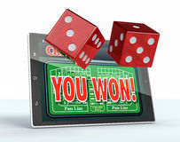 Craps online. Tablet pc with a craps app in a winning situation and a couple of dice, white background (3d render Stock Images