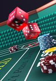 Craps table. 3D Casino craps table, dice in motion, wide depth of field with background blurred a bit. v1
