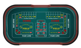 Craps Table in a Casino. Top view Craps Table in a Casino Illustration. Hires Stock Photography