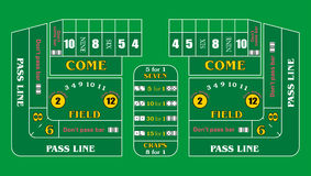 Craps Table Texture. A Typical Casino Craps Table Layout Stock Images