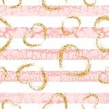 Craquelure сердец grunge золота stripes безшовная картина бесплатная иллюстрация