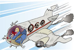 Écrasement de fille et d'avion Photographie stock libre de droits