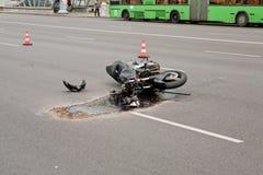 Crash. Motorcycle crash on the city road Stock Image