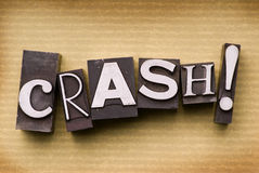 Crash!. The word Crash! done in letterpress type on a colored background stock image