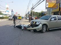 Crash Accident Pickup Truck And Motorcycle Stock Images