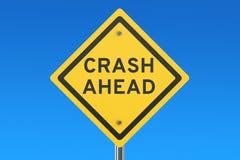 Crash Ahead road sign. Isolated on blue sky Stock Photo