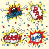 Crash, Bang, Boom and Bang!. Crash, Boom, Bam and Bang! Four grouped Comic book cloud bursts and explosions Stock Images