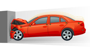 Crash of car. Crash test of red car Stock Photography