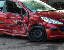 Crash car on accident site royalty free stock photography