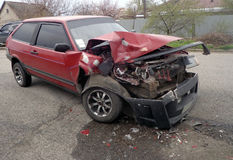 Crash car on accident site Royalty Free Stock Photos