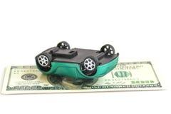 Crash car. On the dollars Royalty Free Stock Image