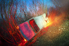 Crash car fire Royalty Free Stock Photography