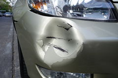 Crash on car. Crash on front bumper from  car accident Royalty Free Stock Photos