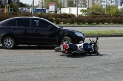 Crash moto bike and car on road. Crash car and moto bike on road Stock Photos