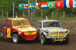 Crash cars. Car wrecks at stock car race royalty free stock image