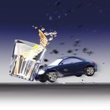 Crash cars and glass Royalty Free Stock Photography