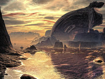 Crash at Cockleshell Bay. Huge metallic hulk of a crashed alien spacecraft lays abandoned on the sea shore of a distant planet Royalty Free Stock Images