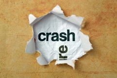 Crash concept on paper hole Stock Photo