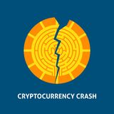 Crash Cryptocurrency Concept. Vector Illustration with Financial Coin Stock Photography