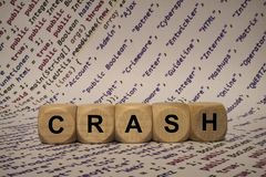 Crash - cube with letters and words from the computer, software, internet categories, wooden cubes Stock Photography