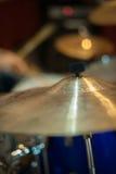 Crash cymbal detail golden metal drum Stock Photo