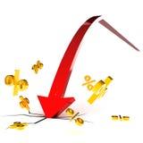 Crash de taux d'intérêt Image stock