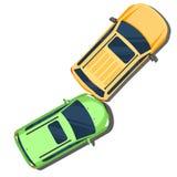 Crash de véhicule Accident derrière la vue supérieure de voitures Style plat Photos libres de droits
