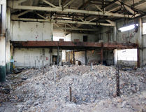 Crash and Destroy. Plant after bombing. Ruins of building royalty free stock images