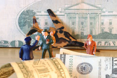 Crash, dollars, finance, confusion & loss. A studio photo illustrating the crash of the US dollar Royalty Free Stock Photography