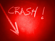 Crash and a down arrow Royalty Free Stock Image